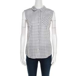 Marc by Marc Jacobs Grey and White Gingham Checked Cotton Sleeveless Shirt S