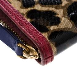 Marc by Marc Jacobs Brown/Red Leopard Print Coated Canvas Wingman Wallet
