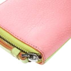 Marc by Marc Jacobs Lime Green/Peach Pink Leather Zip Around Wallet