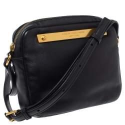 Marc by Marc Jacobs Black Leather Logo Plaque Shoulder Bag