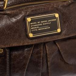 Marc by Marc Jacobs Brown Leather Twisted Q Groove Satchel
