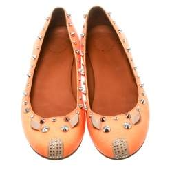 Marc by Marc Jacobs Orange Canvas Spike Mouse Ballet Flats Size 37.5