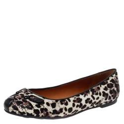 Marc Jacobs Brown/Black Animal Print Calf Hair Mouse Ballet Flats Size 37