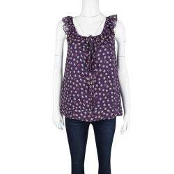 Marc Jacobs Purple Printed Chiffon Ruffle Trim Sleeveless Top S