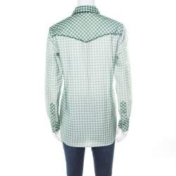 Marc Jacobs Green and White Checked Organza Long Sleeve Shirt S