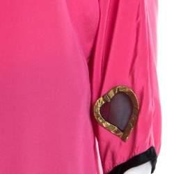 Marc Jacobs Pink Silk Contrast Heart Applique Dolman Sleeve Blouse L