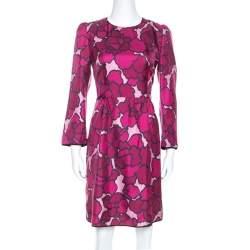 Marc Jacob Pink Floral Printed Silk Paneled Detail Midi Dress M