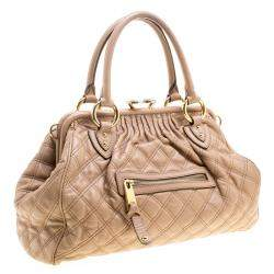 Marc Jacobs Beige Quilted Leather Stam Shoulder Bag