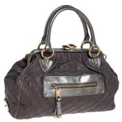 Marc Jacobs Grey/Silver Quilted Leather Stam Shoulder Bag