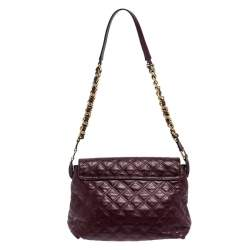 Marc Jacobs Purple Leather Day To Night Single Shoulder Bag