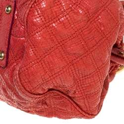 Marc Jacobs Orange Snake Skin Embossed Leather Stam Satchel