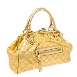 Marc Jacobs Metallic Gold Leather Stam Satchel