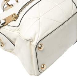 Marc Jacobs Cream Leather Double Zip Pocket Satchel