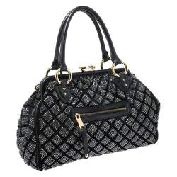 Marc Jacobs Black Crystal Embellished Quilted Leather Stam Satchel