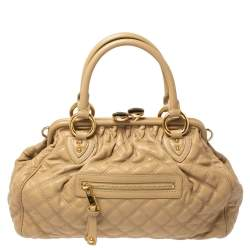 Marc Jacobs Beige Quilted Leather Stam Satchel