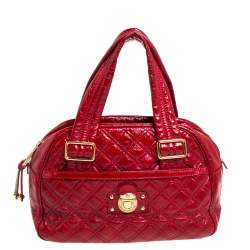 Marc Jacobs Red Quilted Patent Leather Pushlock Satchel