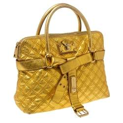 Marc Jacobs Gold Quilted Leather Alina Satchel