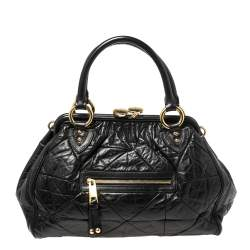 Marc Jacobs Black Crinkled Leather Stam Satchel