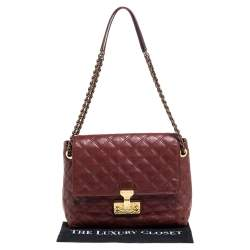 Marc Jacobs Maroon Quilted Leather Large Baroque Single Shoulder Bag