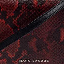 Marc Jacobs Red Python Embossed Crossbody Clutch Bag