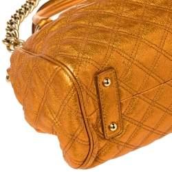 Marc Jacobs Metallic Orange Quilted Leather Stam Satchel