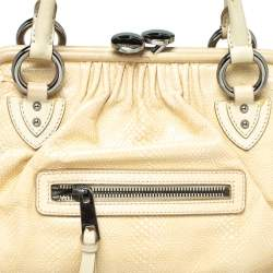 Marc Jacobs Beige Quilted Snakeskin Effect Leather Stam Satchel