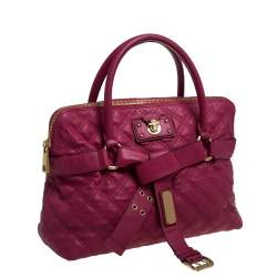 Marc Jacobs Pink Quilted Leather  Bruna Bow Satchel