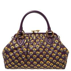 Marc Jacobs Purple/Gold Quilted Print Leather Stam Satchel