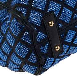 Marc Jacobs Blue Crystal Embellished Quilted Suede and Leather Stam Satchel