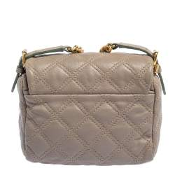 Marc Jacobs Taupe Quilted Leather Crossbody Bag