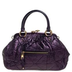 Marc Jacobs Metallic Purple Quilted Leather Stam Satchel