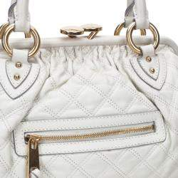 Marc Jacobs Ivory Quilted Leather Stam Satchel