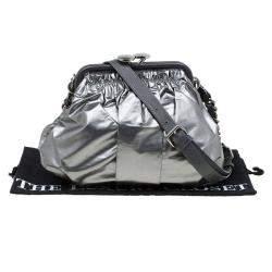 Marc Jacobs Metallic Grey Coated Canvas Parachute Little Stam Bag