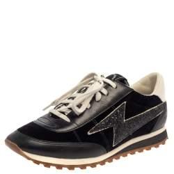 Marc Jacobs Black/White Velvet And Leather Lightening Bolt Sneakers Size 39