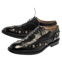 Marc Jacobs Black Leather Studded Oxfords Size 41