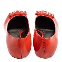 Marc Jacobs Orange Patent Leather Embellished Bow Ballet Flats Size 37.5