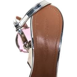 Marco de Vincenzo Metallic Silver Leather Chunky Jewel Embellished Ankle Strap Sandals Size 37