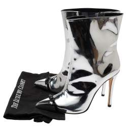 Marco de Vincenzo Silver Patent Leather And PVC Bow Pointed Toe Ankle Boots Size 38.5