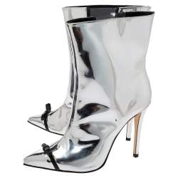 Marco de Vincenzo Metallic Silver Leather Bow Pointed Toe Ankle Boots Size 37.5