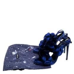 Marco De Vincenzo Navy Blue Velvet Braided Rope Ankle Strap Sandals Size 39