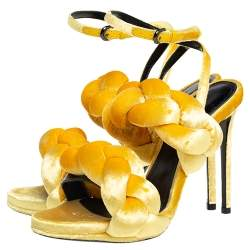 Marco De Vincenzo Sunflower Yellow Velvet Braided Ankle Strap Sandals Size 36.5