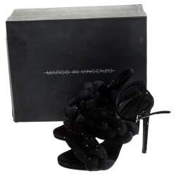 Marco De Vincenzo Black Velvet Rope Braided Rope Sandal Size 37