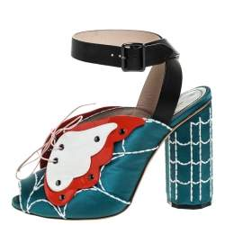Marco de Vincenzo Multicolor Satin and Leather Butterfly Web Ankle Strap Sandals Size 37
