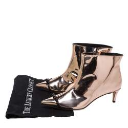 Marco de vincenzo Metallic Rose Gold Bow Pointed Toe Ankle Boots Size 37
