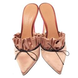 Marco de Vincenzo Beige Satin Bow Pointed Toe Mules Size 37