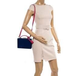Mark Cross Blue/Pink Leather Grace Box Bag