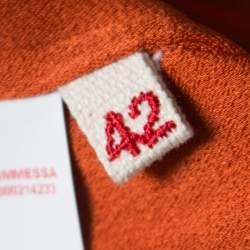 Marni Burnt Orange Crepe Contrast Neck Tie Long Sleeve Top M