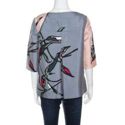 Marni Pink and Grey Floral Printed Cotton and Silk Oversized Top S