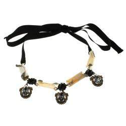 Marni Crystal & Resin Black Ribbon Tie-up Necklace