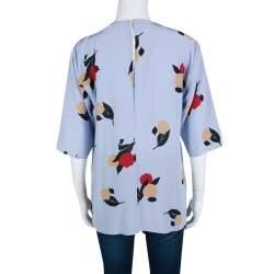 Marni Powder Blue Floral Printed Silk Draped Front Blouse M